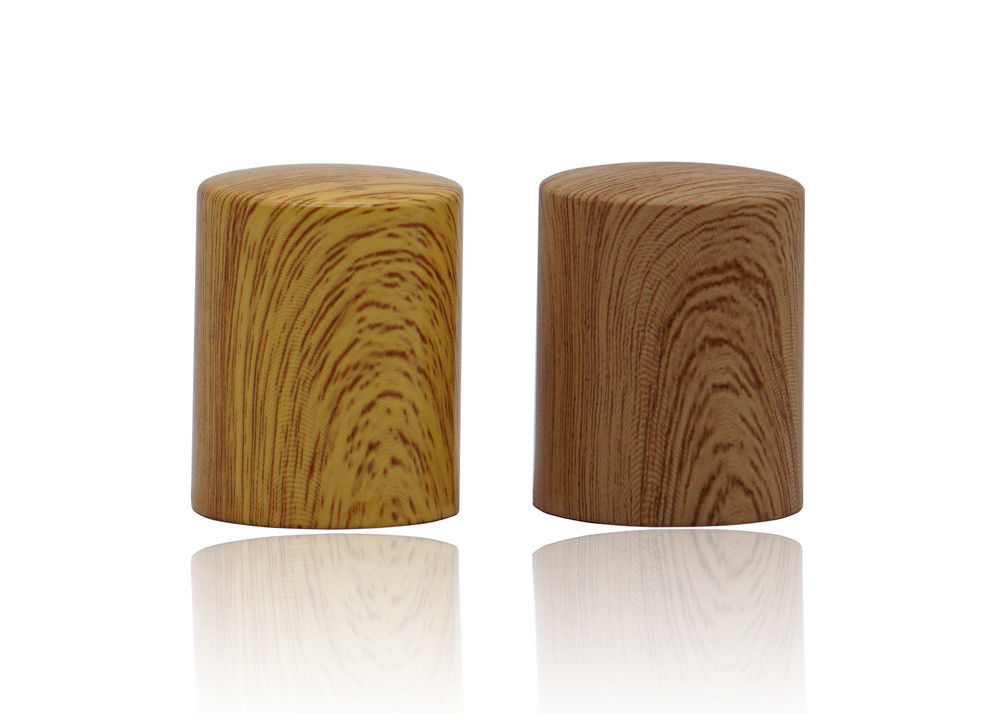Wood Grain Printing Aluminum Perfume Bottle Caps In Common Size For Perfume Pumps